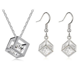 Wholesale Rubik Silver - Happiness Rubik Cube Jewelry Sets Genuine Fine 925 Silver Cubic Zirconia Pendant Necklace Hook Earrings Set With Chain