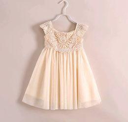 Wholesale Knee Hight Dresses - Free UPS Fedex Ship 2016 Girls summer models girls hight quality princess lace flower dress children dress veil lace crochet