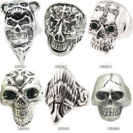 Wholesale European Fashion Style Ring - Mix style 2015 Fashion Antique Silver Ring Skeleton Jewelry Punk Skull Rhinestone European Biker Vintage Stainless Steel Rings For Men