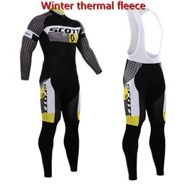 Wholesale Cycling Bib Longs - Scott 2017 Pro team winter thermal fleece cycle jersey kit ropa ciclismo hombre invierno long sleeve bike clothing bib pants set