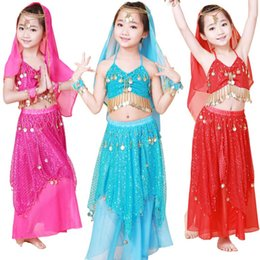 Wholesale Yellow Dance Costumes - 2014 kids belly dance costumes two piece top&skirt danca do ventre S M belly dancer rose red blue yellow pink children bollywood