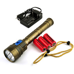 Wholesale Diving Flashlight 7x - Skyray DX7 Plus Diving Flashlight 7x CREE XM-L L2 14000 Lumens 150m Underwater Scuba Diver Lanterna Torch + battery+ Charger