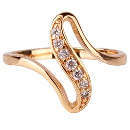Wholesale Cheap Vintage Wedding Engagement Ring - Wholesale-2015 Cheap Women Finger Rings 18K Gold Plated Engagement Wedding Rings for Women Cubic Zirconia CZ Vintage Jewelry Bijoux R103