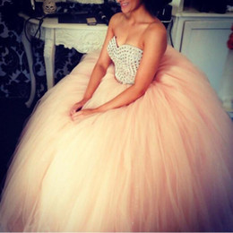 Wholesale Dancing Dresses Cheap - Ball Gowns Quinceanera Dresses For Sweet Sixteen Teenagers Young Girls Debutante Formal Dance Gowns Cheap Beaded Tulle Vestidos Prom Dresses