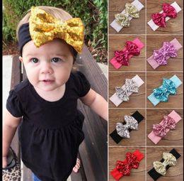 Wholesale Toddler Headband Headwrap - Baby Kids Girl Sequin Bow Hair Band Toddler Infant Turban Headband Headwrap Cute Bow Headband Elastic Accessories KKA3184