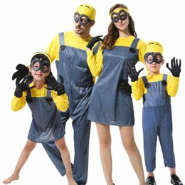 Wholesale Despicable Minions Costumes - Childrens Adults Boys Girls Mens Womens Minion Costume Halloween Anime Despicable Me Cosplay Costumes Suits Family Party Clothes