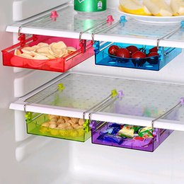 Wholesale Wholesale Plastic Drawer Organizers - Wholesale-Creative Fridge Storage Rack With Layer Partition Refrigerator Plastic Storage Holder Pull-out Drawer Organizer 12*15*2.5cm