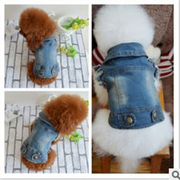 Wholesale Unisex Denim Shirt - New Fashion Pet Puppy Cat Denim Vest Personalized Dog Clothes Summer False two Dog Clothing for Chihuahua free shipping