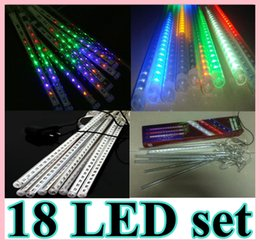 Wholesale Rain Christmas Lights - 110V 220V EU US Multicolor Colorful 30cm 18 LED 2.4M 8 tubes set 144LED Meteor Rain Shower Light Bulb Christmas Tree
