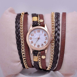 Wholesale Christmas Wrap Sold Wholesalers - DHl send Hot Selling Women Watches Lady Wrap Wrist Watches Round Dial Charming Bracelets Watch youmyelectec1688 factory directly