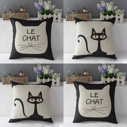 Хлопковый деко онлайн-Wholesale-Cute Cat Print 17'' Cotton Linen Throw Pillow Car Sofa Deco Pillow Case Cushion Cover Pillowcase