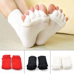 Wholesale Yoga Toe Socks Black - Women Massage Toe Socks Cotton Spandex Foot Alignment Comfortable Socks Fitness Yoga Foot Wear Indoor Massage Toe Socks