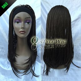 Wholesale Long Braids Wig - New Arrival straight braid with headband wig Synthetic long brown color punk afro braid African style wigs for black woman