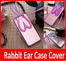 Wholesale Cute Cell Phone Stands - Cell Phone Cases New TPU Rabbit Stand Ear 3D Cartoon Transparent Cute Mobile Phone Cover Lanyard Lovely Clear Cheap