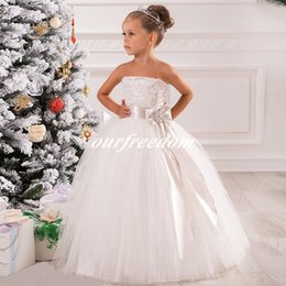 Wholesale Strapless Kids Wedding Dresses - Lovely Embroidery Strapless Sash Bow Net Ball Gown Kids Girl Birthday Party Dresses Children Flower Girl Dresses Custom Made 2016