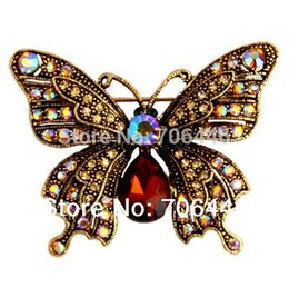 """Wholesale Beautiful Butterfly Brooch - 2"""" Vintage Style Antique Gold Plating Rhinestone Crystal Diamante Beautiful Butterfly Brooch Mother's Day Gifts"""