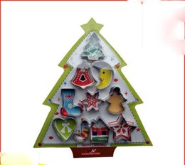 Wholesale Metal Cookie Cutter Set Christmas - 10pcs set stainless steel Cookie Cutter Fried Sandwich Toast cut Bread Mold Maker Baking Tool Kitchen supplie Christmas series free shipping