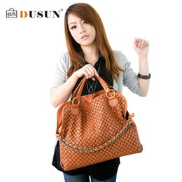 Wholesale Man Leather Handbag Black Big - Wholesale-2015 new woven shoulder bag hot fashion chain women bag PU leather handbag Korean casual women big cover bag ladies travel bag