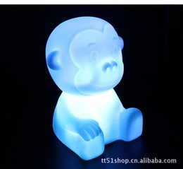 Wholesale Nights Zodiac - Wholesale-Free Shipping Hot Selling LED Colorful Gradient Night Light, Colorful Zodiac Monkey Night Light lamp christmas decorations Toys
