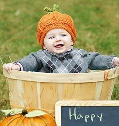 Wholesale Handmade Baby Beret - Baby Crochet Hats Newborn Bonnet Skullies Beanies Boys girl Knitted Hat beanie Berets pumpkin Handmade Photography props Fast delivery