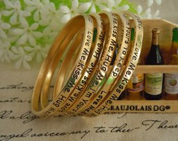 Wholesale Lettering Bracelet - Cheap Metal Gold Lettering Love Gifts Bangle For Women And Men 6.1 cm Width Fashion Charm Lady Bracelets Make a Wish