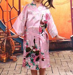 lencería de satén para niñas Rebajas Las niñas royan seda Robe Satén vestido de pijama Peacock Lingerie Ropa de dormir Kimono Bath Gown pjs camisón 5 colores # 3765