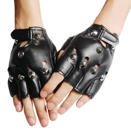 Wholesale Dresses Leather Look - Wholesale-HOT SALE!Unisex Cool BLACK Punk Rock Studded LEATHER LOOK FINGERLESS GLOVES FANCY DRESS