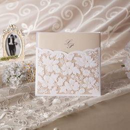 Wholesale Convite Casamento Laser - Wholesale- Free Shipping 10pcs Elegant Laser Cut Wedding Invitations Wishmade Convite Casamento Event & Party Supplies W1101