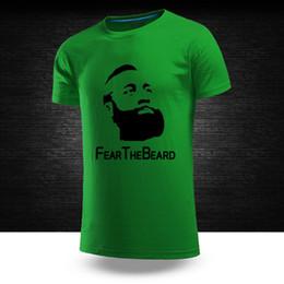 Wholesale Red Beard Man - Wholesale HOUSTON BASKETBALL JAMES HARDEN FEAR THE BEARD ROCKETS T-Shirts Summer Fall male short sleeve shirt 5 colors 100% cotton