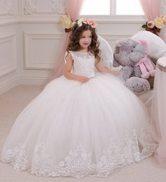 Wholesale Sweet Kids Girls Dresses - Sweet White   Ivory Flowergirl Kids First Communion Dresses Sheer Jewel Neck Lace Appliques Ball Gown Flower Girls Dresses For Weddings