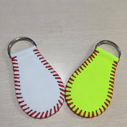 Wholesale Design For Ladies Leather Bags - Creative Design Key Ring Leather Keys Chains Baseball Softball Keychain For Lady Bag Decorate Pendant White Yellow 7yh C