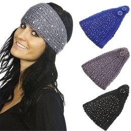 Wholesale Free Crochet Hair Accessories - Women Crochet Winter Autumn Warm Rhinestone Knitting Headbands Hat Fashion wide headwrap winter hair accessories Ear warmers