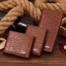 Wholesale Trend American - Factory wholesale brand bag fashion long wallet crocodile crocodile business card multi dimensional Long Wallet trend leather hand Wallet