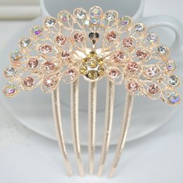 Wholesale Blue Peacock Combs - Newly Exquisite Unique Colorful Wedding Bride Shiny Rhinestone Peacock Hair Comb Hairpins Women Hair Jewelry F60SS1099