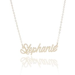 "Wholesale Custom Jewelry Charms - Personalized custom 14K Gold Plating Stainless Steel Name necklace "" Stephanie "" Charm Nameplate Necklace Jewelry gift NL-2430"