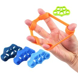 Wholesale Hand Grips Exercises - 6pcs Finger Resistance Bands Hand Gripper Forearm Wrist Training Stretcher Exercise Pull Ring Grips Expander Fitness Equipment