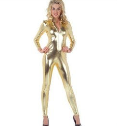 Wholesale Gold Catsuit Front - Wholesale-Free Shipping Adult NEW Lycra Spandex Zentai Party Sexy metallic Gold Costume Catsuit Front Zipper No Head Hands Feet
