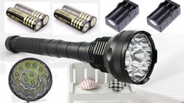 Wholesale Hid Xenon Light High Low - Free Post New 18000 Lumen flashlight 15x CREE XM-L T6 LED Flashlight Torch 15T6 Light Lamp with 4pcs 18650 + 2 Dual Charger