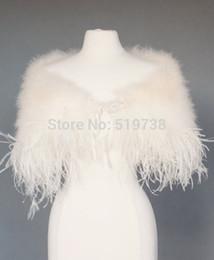 Wholesale White Bridal Shawls - Ostrich Feather Wedding Jackets Bridal Shrug Shawl Wrap Marabou Feather Cape with Ostrich Boa Trim Prom Wedding Accessories