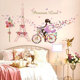 Wholesale Paris Wall Mural - Wholesale- Romantic Paris Wall Sticker For Kids Rooms Eiffel Tower Flower Butterfly Fairy Girl Riding Wall Art Decal Home Decor Mural