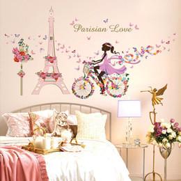 2019 etiquetas da parede das fadas da flor Atacado-Romantic Paris Wall Sticker para quartos de crianças torre Eiffel flor borboleta fada menina andar de arte da parede Decal Home Decor Mural desconto etiquetas da parede das fadas da flor