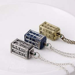 Wholesale Police Box Necklace - 2015 popular Doctor Who Tardis Necklace Police Box Necklace Retro jewelry vintage blue brozen silver choose Style