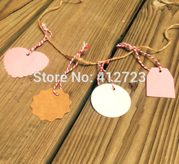 Wholesale Wholesale Blank Bookmarks - Wholesale- 150pcs Round Heart shape kraft paper Hang Tag,blank hand make Bookmarks label DIY Wedding party favor Gifts Decoration cards