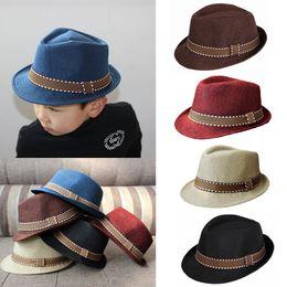 Wholesale Trilby Boy - New Fashion Kids Boy Girl Unisex Fedora Hats Cap for Children Contrast Trim Cool Jazz Chapeu Feminino Trilby Sombreros GA0074
