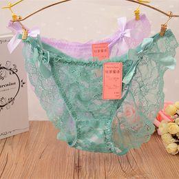 Wholesale Ladies Sheer Sexy Panties - Sexy Women Thongs G-string Cotton Underpants Ladies Floral Sheer Lace Underwear Grils Soft Lingerie Briefs Bikini Panties LMC364
