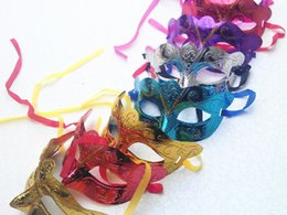 Wholesale Mix Order Halloween Mask - Mix Order 100pcs Promotion Selling Party Mask Gold Glitter Mask Venetian Unisex Sparkle Masquerade Venetian Mask Mardi Gras Costume Mas B04