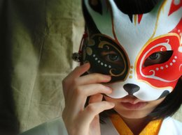Wholesale Japanese School Cosplay - Hand- painted Cosplay Mask Endulge Japanese Mask Upper Half Face Halloween Masquerade Party Masks Free Shipping