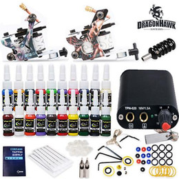 Wholesale Disposable Tattoo Needles Grips - Complete tattoo kits power supply 2 mahcine Gun 20 color inks sets grips tips disposable needles HW-17GD