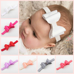 Wholesale Double Satin Bow - Childrens Hair Accessories Baby Girls Boutique Satin Bows Flowers Headbands Princess Double Bow Elastic Hairbands Newborn Headwear New
