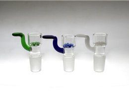 Wholesale Leaf Glass Bowl - Built-In Glass Screen leaf Glass Bowl colored male bowl with handle 14.5mm 18.8mm